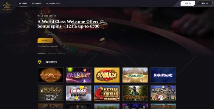 21 Casino Homepage