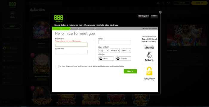 888 Casino Register