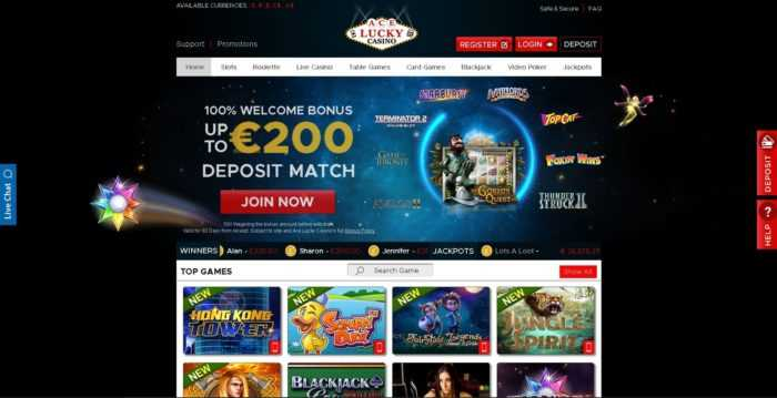 Ace Lucky Casino Homepage