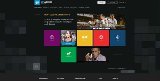 BetAdonis Homepage