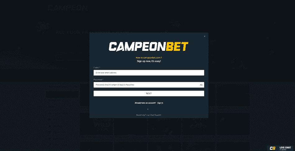 Campeonbet Register