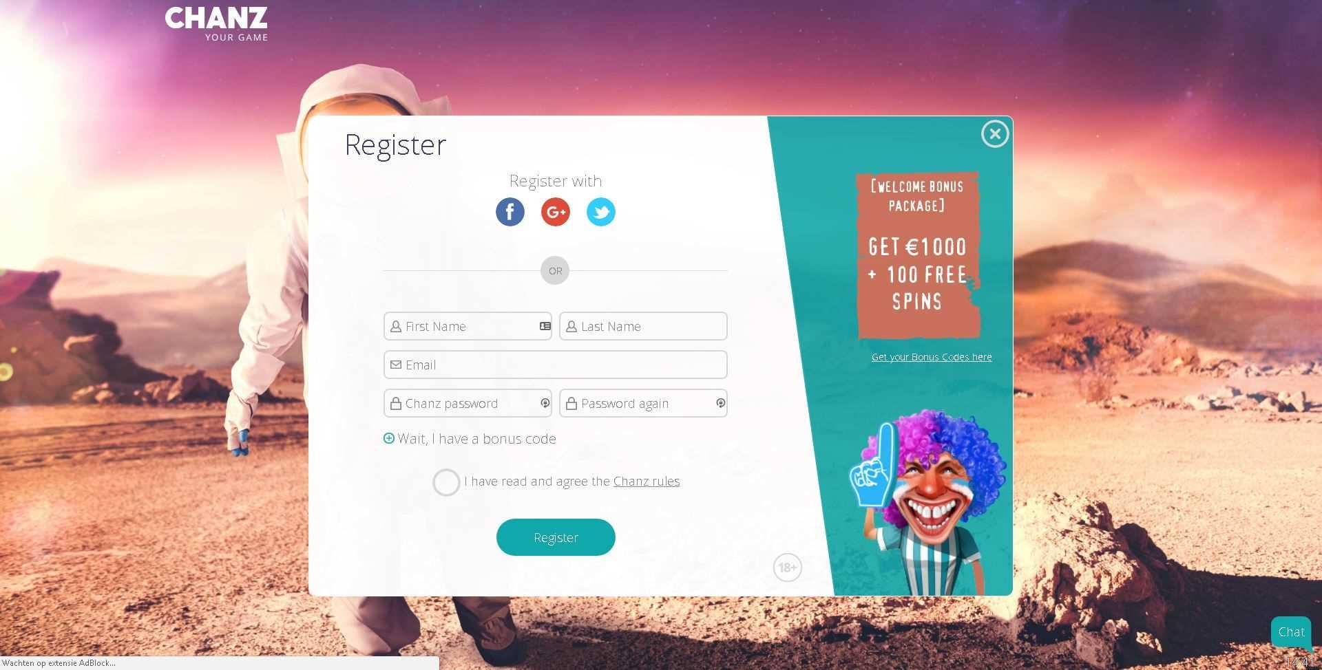 Chanz Registration