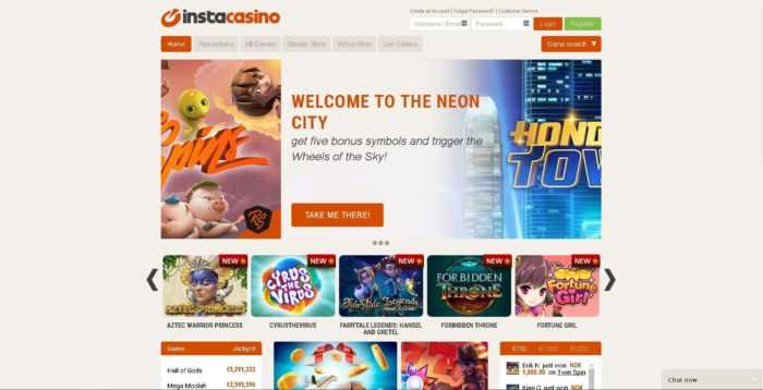 InstaCasino Homepage