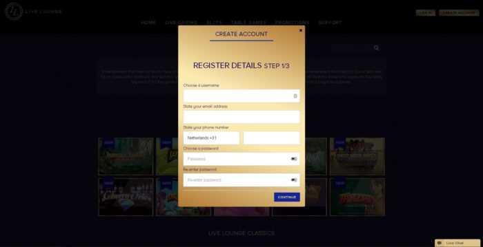 Live Lounge Registration
