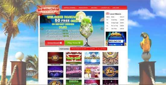 Malibu Club Casino Homepage