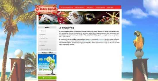 Malibu Club Casino Register