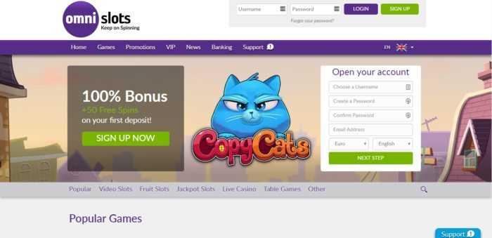 Omni Slots Homepage