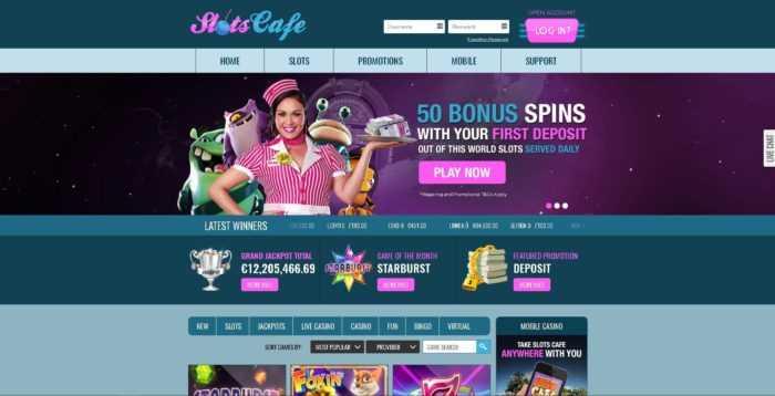Slots Cafe Homepage