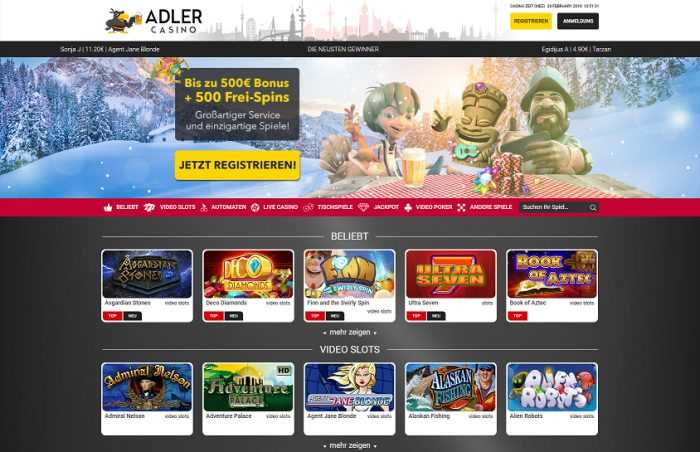 Adler Casino Homepage