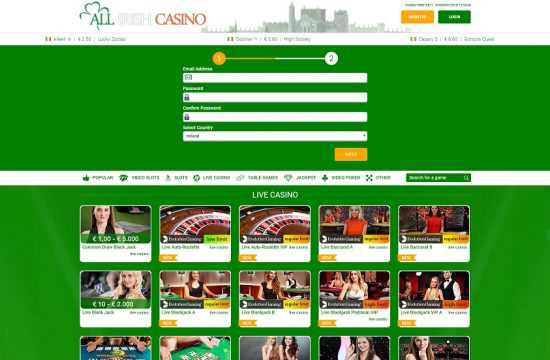 All Irish Casino Register