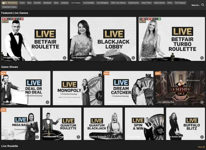 Betfair Live Casino Lobby