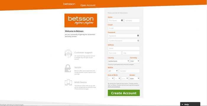 Betsson Registration