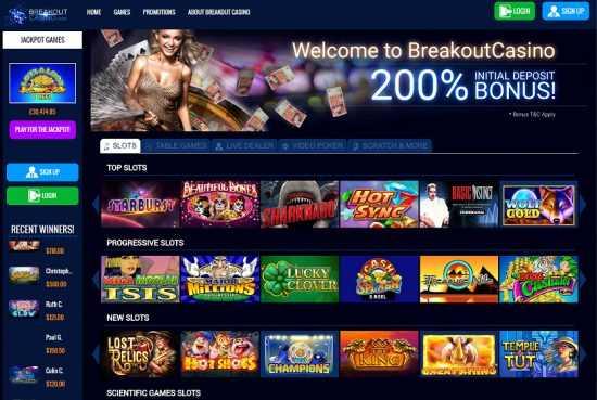 Breakout Casino Homepage