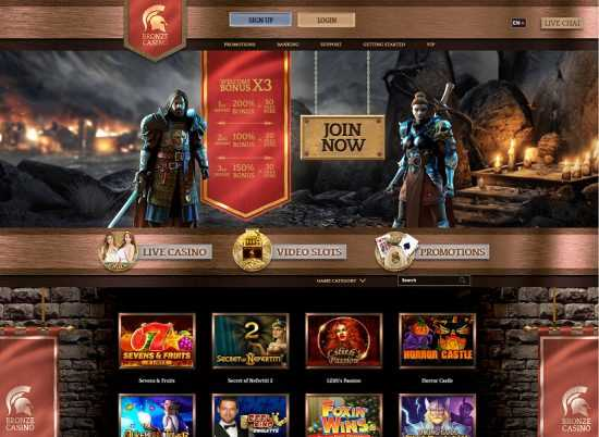 Bronze Casino Homepage