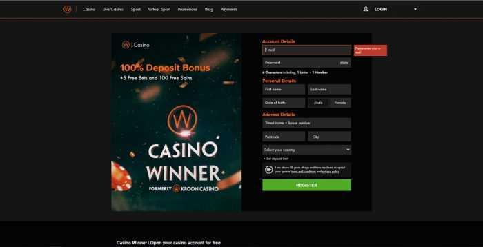 Casino Winner Registration