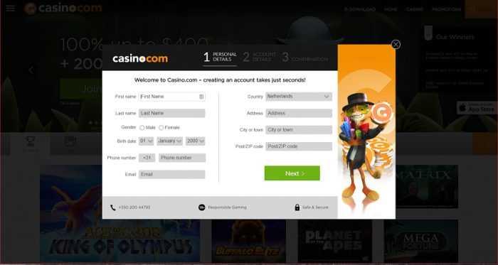 Casino.com Registration
