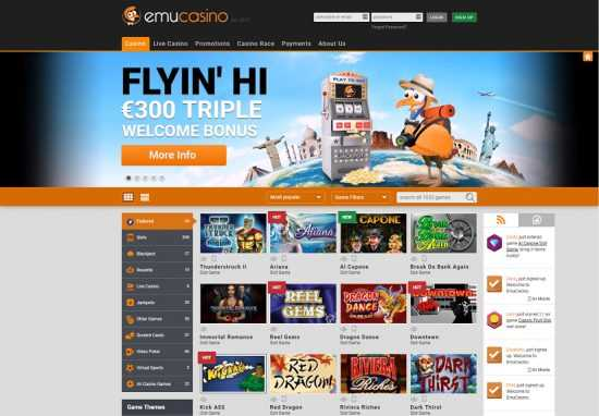 Emu Casino Homepage
