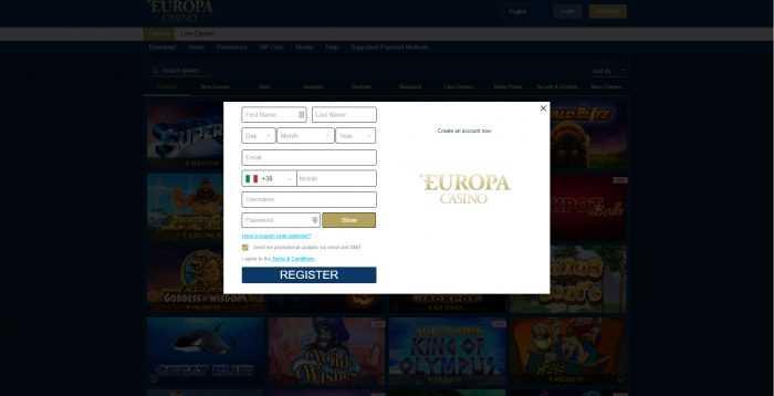 Europa Casino Registration