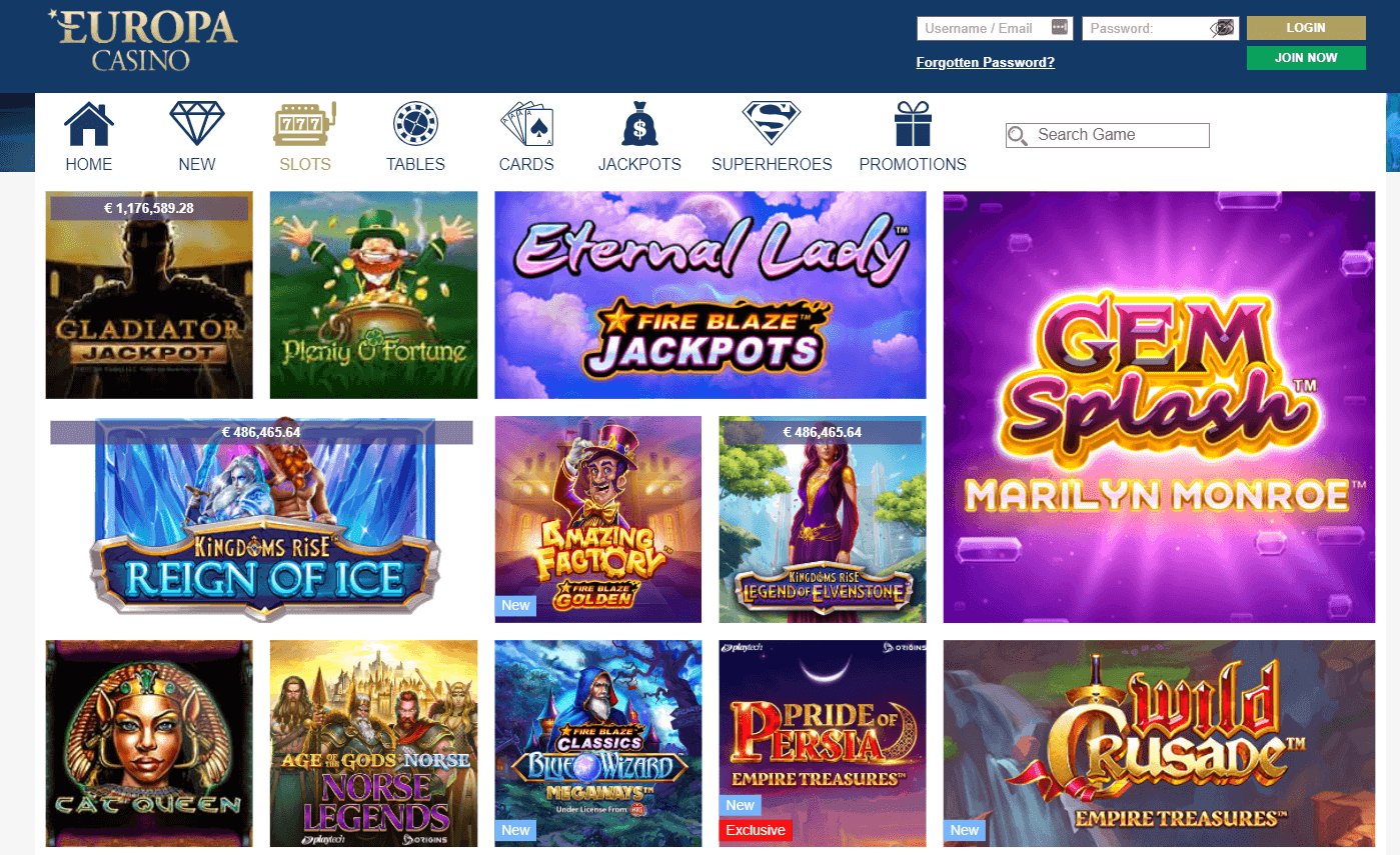 Europa Casino Live Games