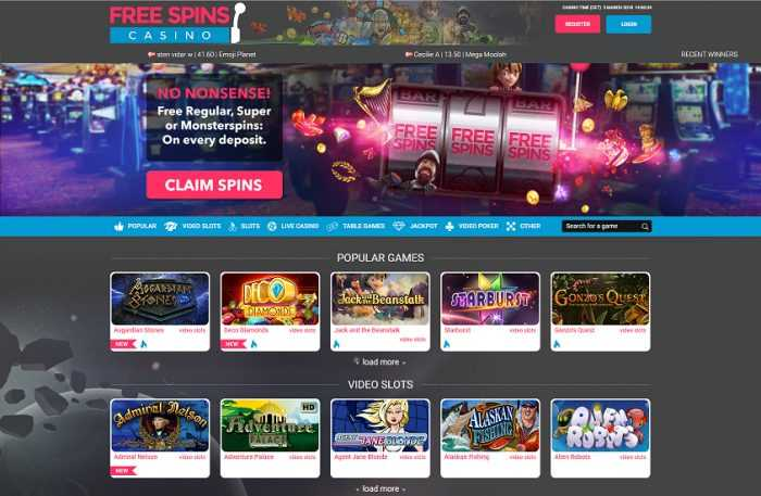 Free Spins Casino Homepage