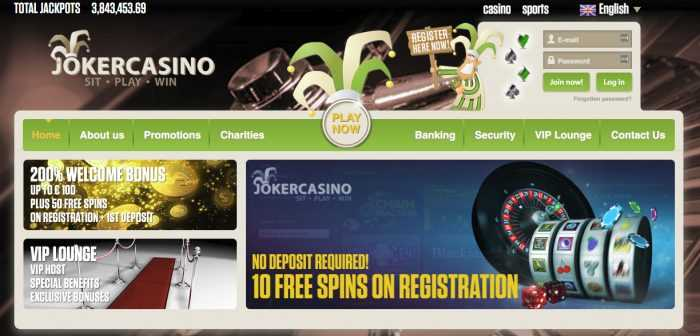 Joker Casino Homepage