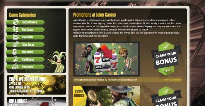 Joker Casino Promotions