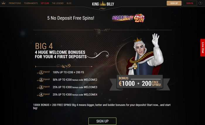 King Billy Casino Welcome Offer