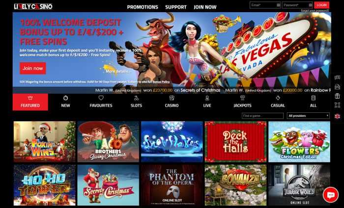 Lively Casino Homepage