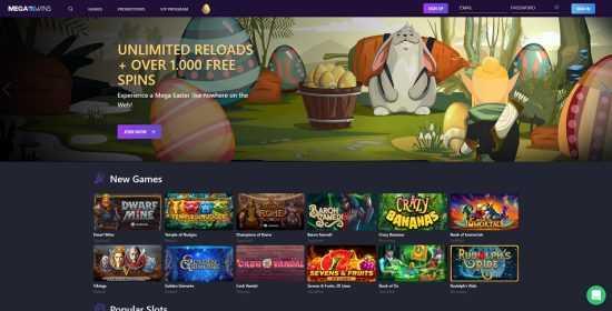 Mega Wins Homepage