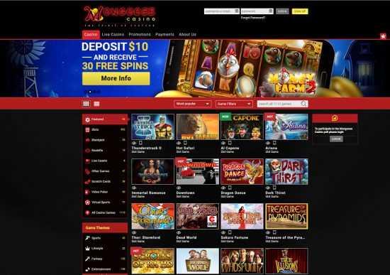 Mongoose Casino Homepage