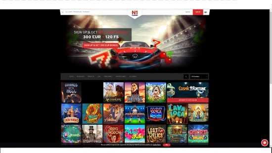 N1 Casino Homepage