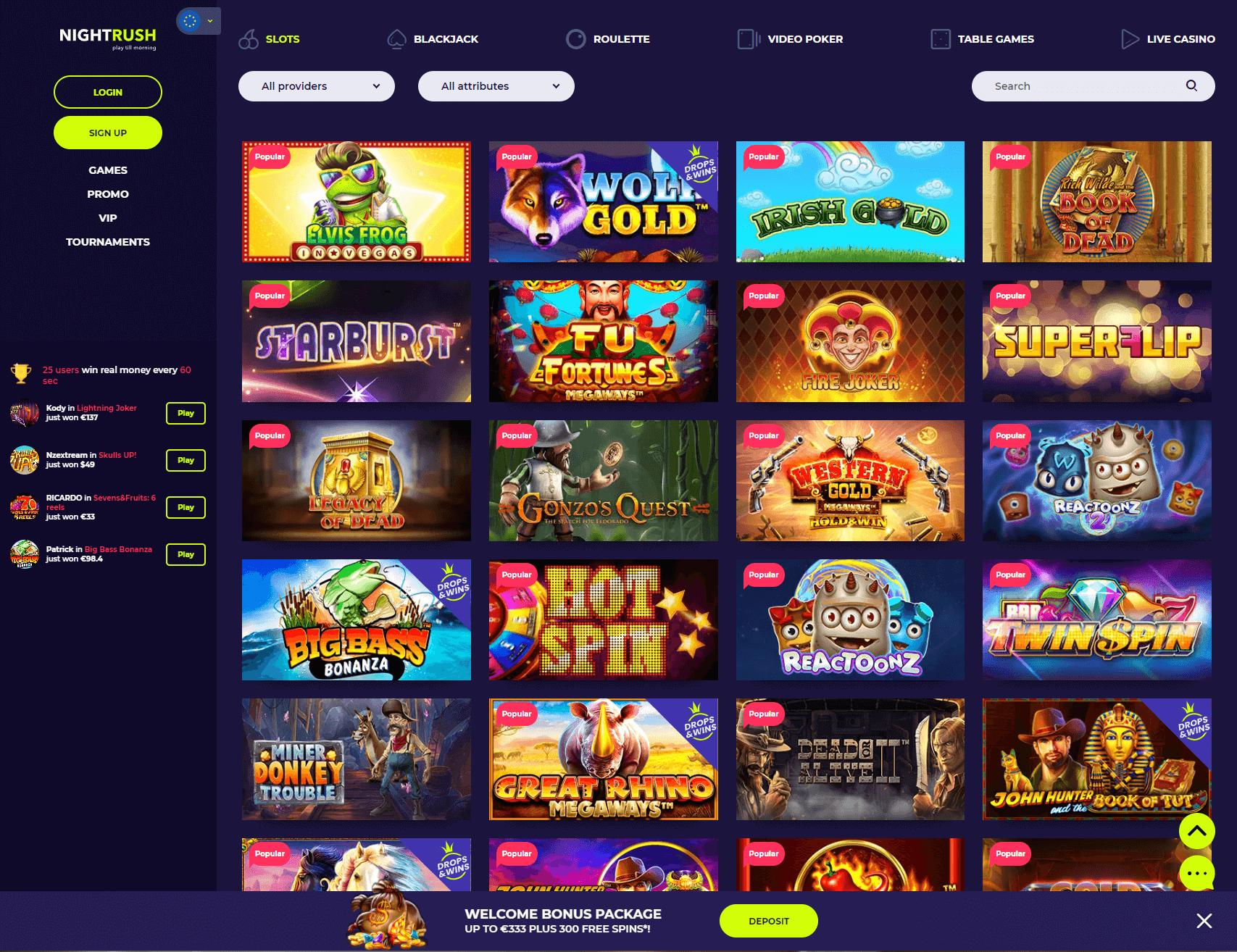 Nightrush Games Lobby Screenshot