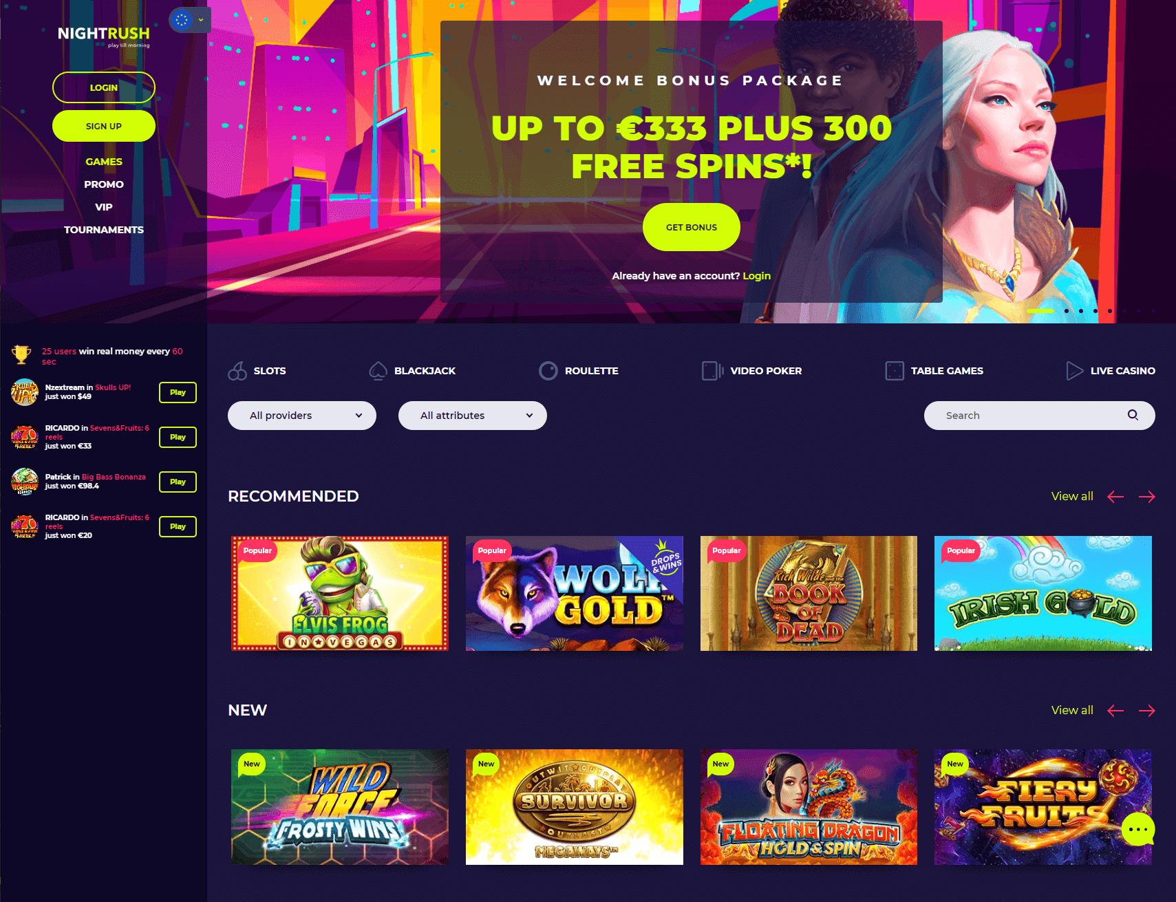 Nightrush Homepage Screenshot