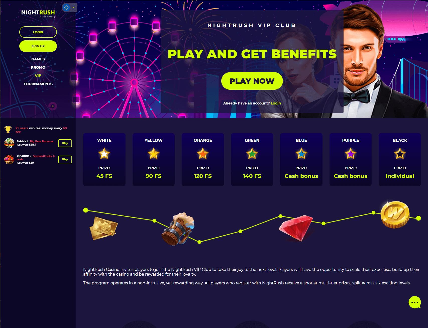Nightrush VIP Program Screenshot