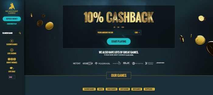 No Account Casino Homepage