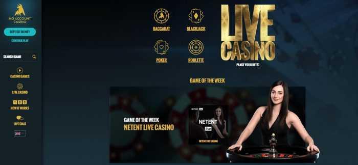 No Account Casino Live Casino