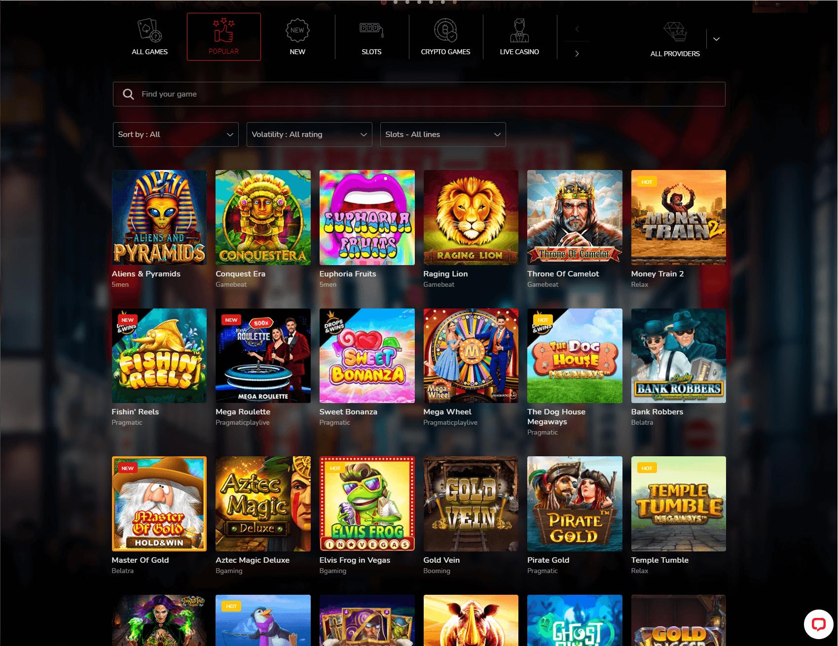 Oshi Casino Games Screenshot