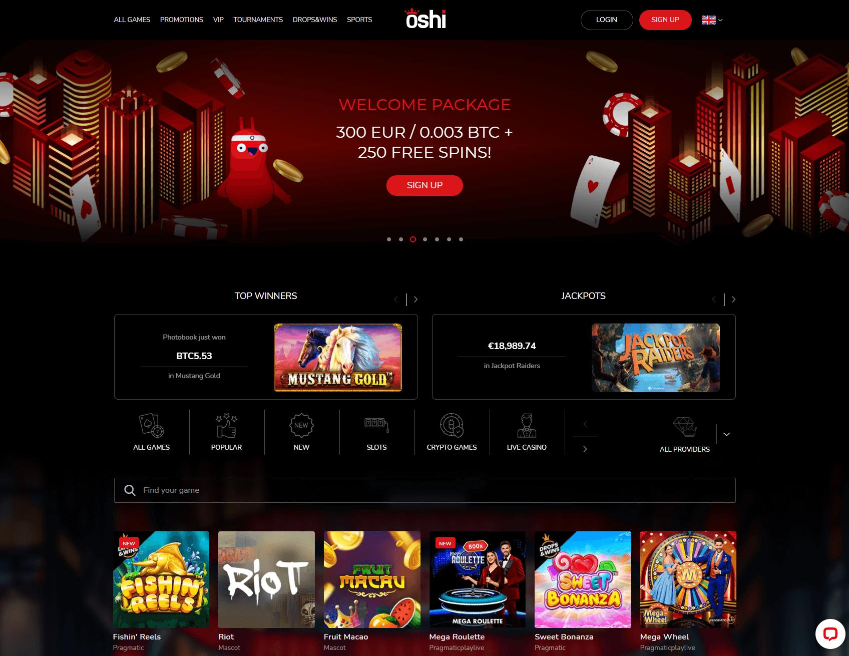 Oshi Casino Homepage Screenshot