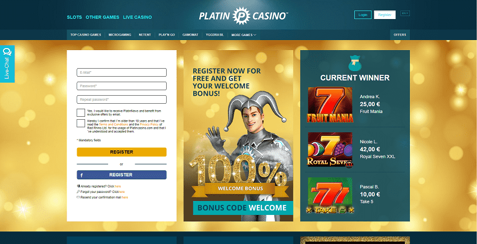 Platin Casino Register