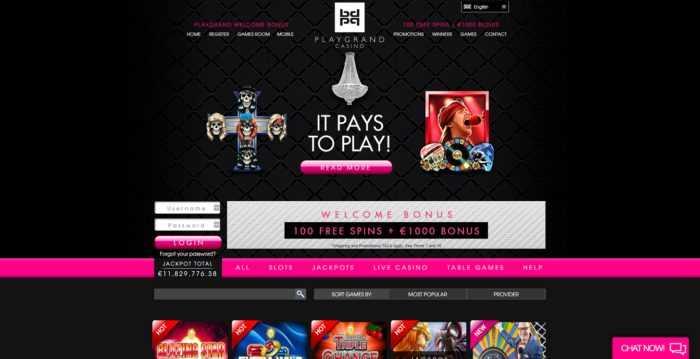 PlayGrand Casino Homepage