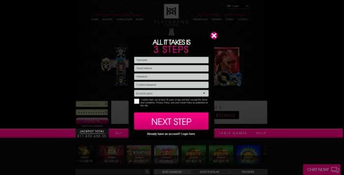 PlayGrand Casino Register