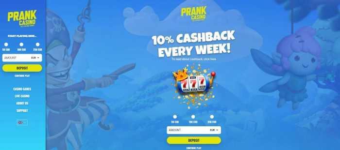 Prank Casino Homepage