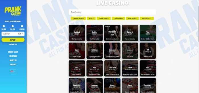 Prank Casino Live Casino