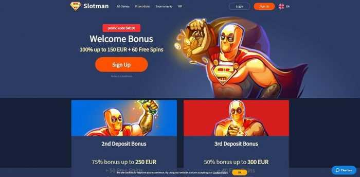 Slotman Casino Welcome Bonus