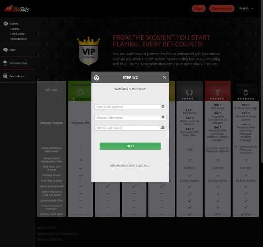 Wildslots Registration