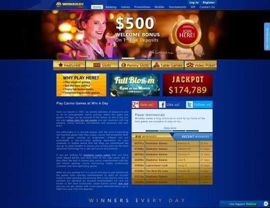 Winaday Casino Homepage