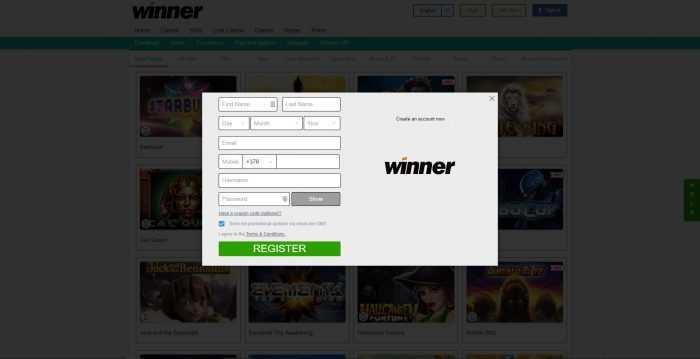 Winner Casino Registration