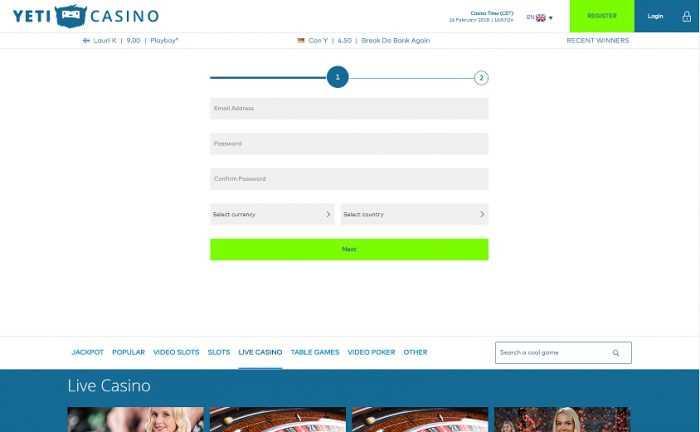 Yeti Casino Registration