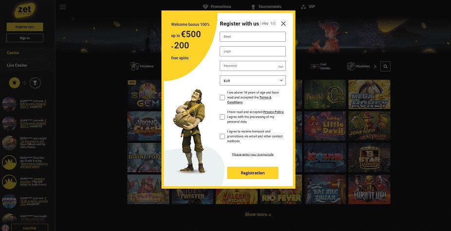 Zet Casino Register