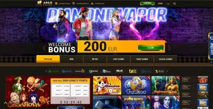 Argo Casino Homepage